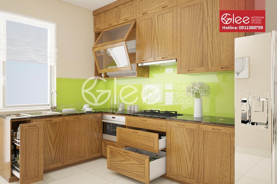 tủ bếp vân gỗ sồi